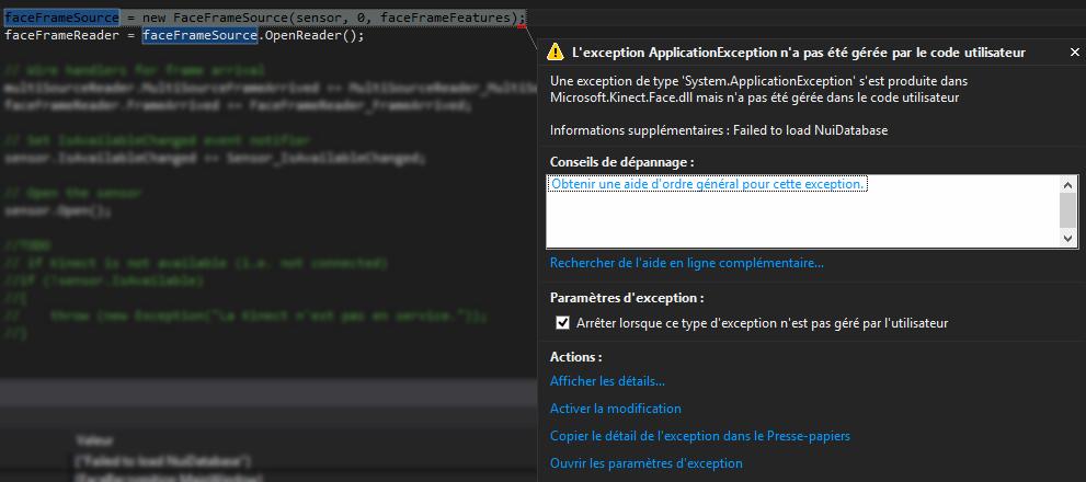 Kinect Face API - message d'erreur