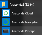 Anaconda prompt in Start menu